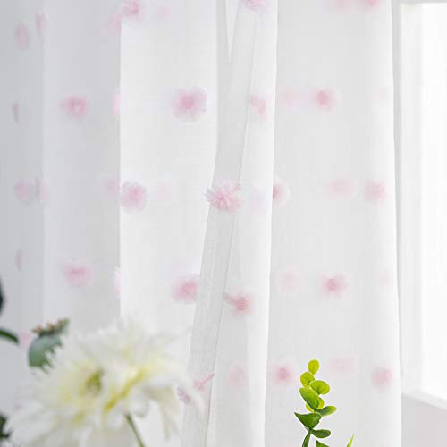 FINECITY Pom Pom Curtains for Girls Room - Rod Pocket Light Filter Embroidered Sheer Curtains 63 Inch Long 2 Panels with Chic Pink Pompon Design Voile Drapes for Bedroom, 52 x 63 Inch, White Pink