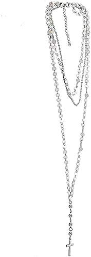 AOAOTOTQ Co.,ltd Collar de Cadena de Oro de múltiples Capas, Gargantilla de Lentejuelas, Collar de Mujer, Moneda de Cristal, Collares Cruzados, Colgantes, Gargantilla Larga, Collar de Mujer