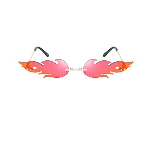 NUOBESTY Occhiali da Sole Moda Fiamma per Donna Uomo Forma di Fuoco Occhiali Occhiali da Vista Rossi