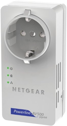 NETGEAR XAV5601-100PES Powerline-Netzwerkadapter (500Mbps über Stromleitung, integrierte Steckdose Gigabit LAN)
