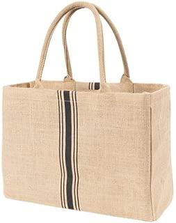 KAF Home 45872 Jute Market Tote Handles Reusable Grocery Bag, Triple Stripe