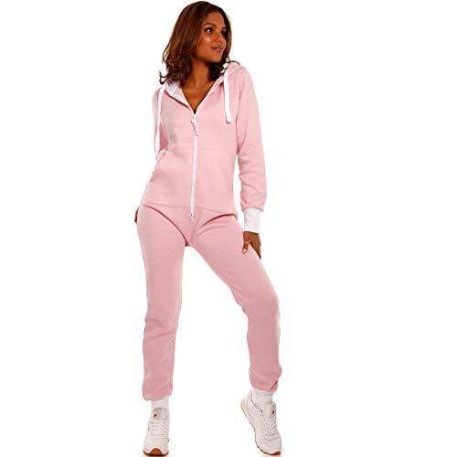 Crazy Age Basic Jumpsuits Ganzkörperanzug Einteiler One Piece Schlafanzug Overall Damen Jumpsuit Kuschelig und warm (XS, Altrosa)