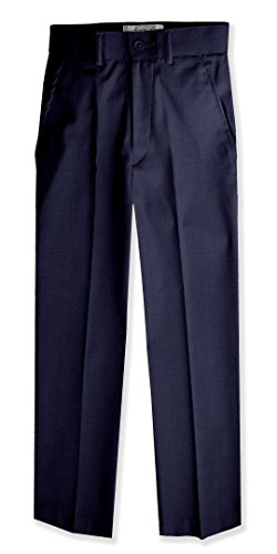 Johnnie Lene Boys Flat Front Slim Fit Dress Pants #JL36 (4, Navy)