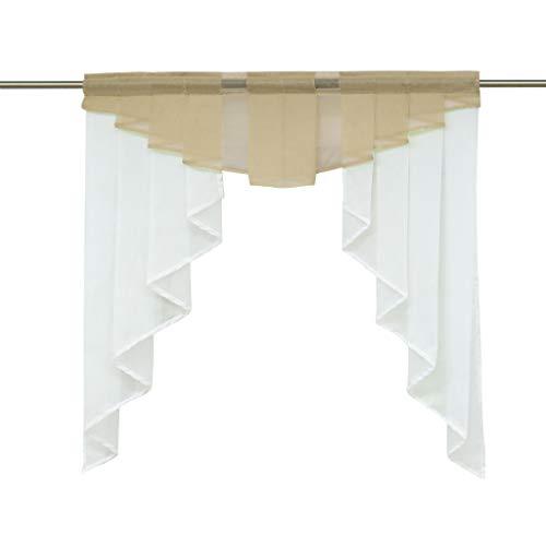 HongYa transparenter Voile Scheibengardine Tunnelzug Kurzstore Küche Kleinfenster Gardine H/B 80/80 cm Sand