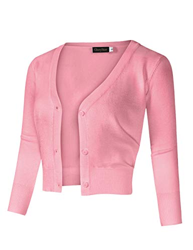 GloryStar Women's Casual 3/4 Sleeve Button Down Open Front Knit Cropped Cardigan Sweater Pink S