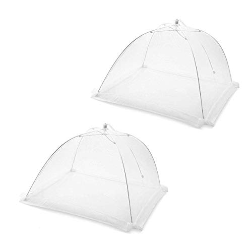 Set of 2 Large Pop-Up Mesh Screen Food Cover Tents - Keep Out Flies, Bugs, Mosquitos - Reusable - Colors May Vary (ASSORTED, 1)