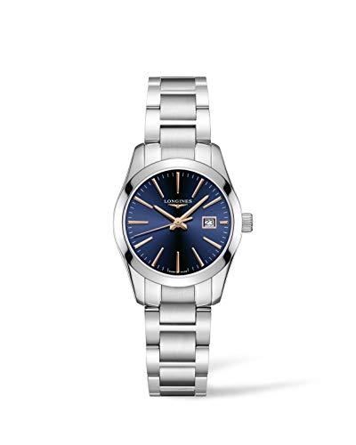 Longnes - Conquista clásico 29,50 mm, esfera azul de acero inoxidable L22864926