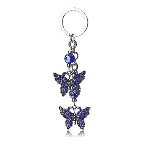 Llavero De La Mariposa Pendientes De La Borla De Llavero De Cristal Cadena Dominante del Coche Regalos De La Joyería De Las Mujeres De Moda (Color : 1)