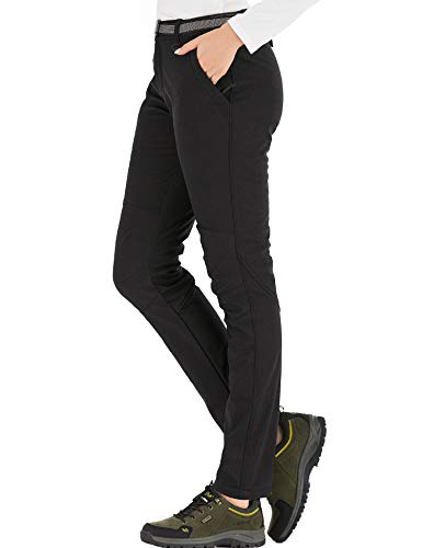 DAFENP Damen Wanderhose Outdoorhose Wasserdicht Softshellhose Winddicht Winter Warm Gefüttert Trekkinghose KZ3339W-Black1-XL