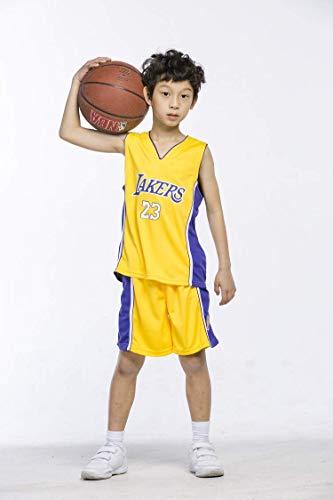 Basketball-Trikots Set für Kinder - Lakers James#23 Basketball-Shirt Weste Top Sommershorts für Jungen und Mädchen (Gelb, L)
