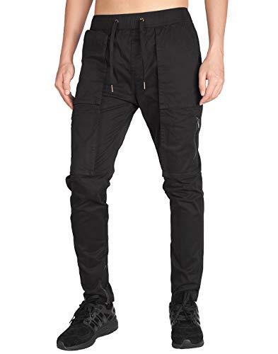 ITALY MORN Pantalones Cargo Joggers para Hombre Slim Fit Negro Algodon S Negro