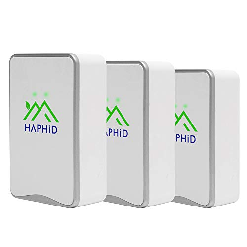 HAPHID Negative Ion Generator/Plug In Air Purifier with Highest Output - Up to 32 Million Negative Ions/Sec, Filterless Mobile Ionizer & Portable Purifier Clean:Pollutants,Odors,Pets Smell Etc(3 Pack,Silver )