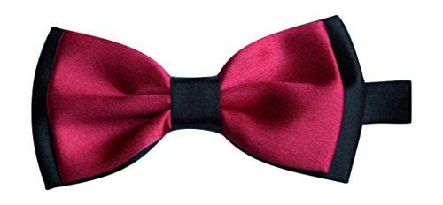 Sock Snob Homme satiné foncé Rose rouge et noir de luxe réglable Nœud papillon