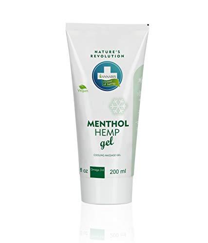 Menthol Hanfsalbe | Hanf-Gel | kühlendes Gel | kühlende Wirkung, entwickelt für die tiefe Gewebemassage bei Schmerzen der Gelenke, Muskeln, Rücken | von Annabis | 200ml.