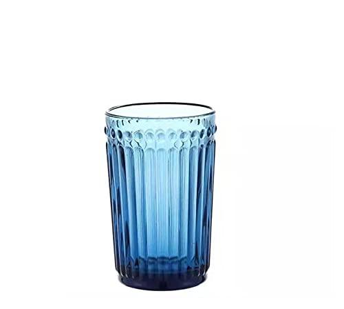 Takagawa HHH Azul Vidrio té Rojo UVA Vino Jugo Bebida Taza Botella Retro Relieve Taza Ensalada Helado Cuenco Taza de Bebida Champagne Flauta HHH (Color : 400ML M Cup)
