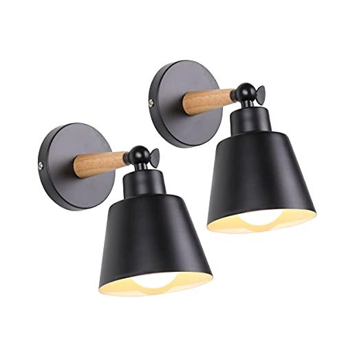 2 Packs Appliques Murales Vintages Industrielles Plafonniers Luminaires E27 en Métal Réglable Lampe Murale Interieur Rétro pour Chambre Cuisine Restaurant (Noir)