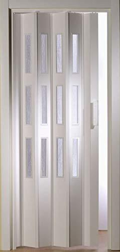 Kunststoff-Falttür Luci Fb. weiß B 88,5 x H 202 cm mit 3 Fensterreihen