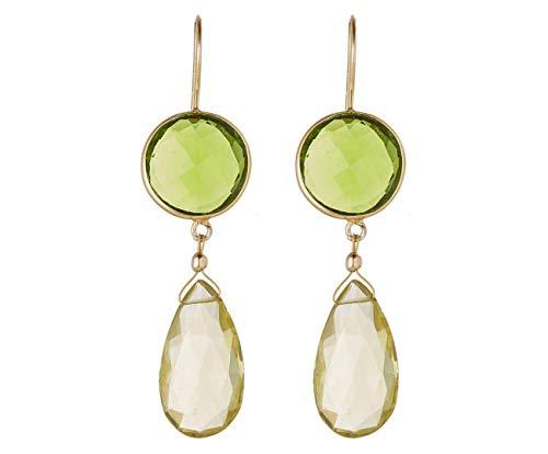 Gemshine Ohrringe mit grünen Peridoten und Citrin Edelstein Tropfen. 925 Silber hochwertig vergoldet - Nachhaltiger, qualitätsvoller Schmuck Made in Germany