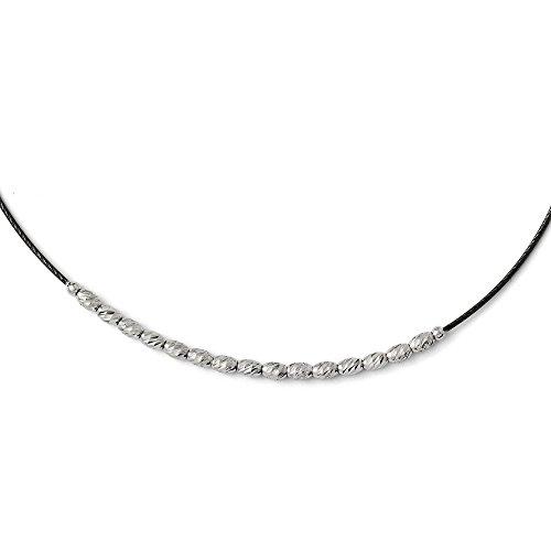 Plata de ley 925 con chapado de rutenio pulido, cierre de langosta con cuentas de corte brillante con cuentas de 6,3 cm de diámetro externo, collar de joyería para mujeres – 43 centímetros