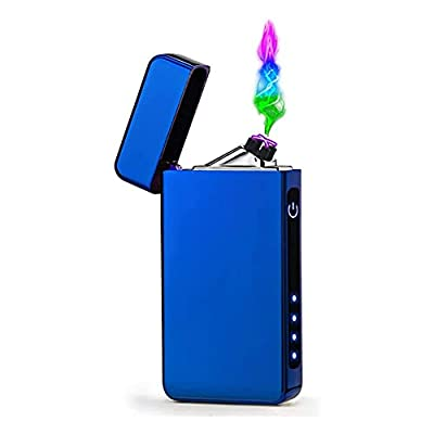 New Dual Arc USB Lighter - Rechargeable Electronic Lighter,LED Screen Plasma Power Display Lighter Gadgets for Man,Windproof Flameless Lighter,Pocket Lighters for Kitchen Camping Hiking (Blue) by ZUICC