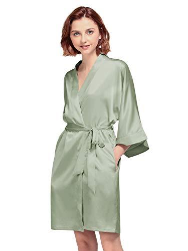 AW BRIDAL Batas de satén Sedoso Kimono Corto Albornoz Bata para Novias Damas de Honor Boda, Verde Salvia, S