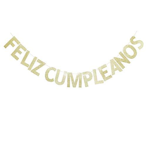 Feliz Cumpleanos - Pancarta dorada con purpurina para fiestas temáticas, decoración de fiesta de cumpleaños española