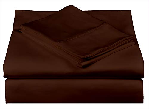 500 Thread Count Best Bed Sheets 100% Cotton Sheets Set Choclate Brown Extra Long-Staple Cotton Queen Size, Fits Mattress 18'' Deep Pocket Soft & Silky Sateen Weave 4 Piece Sheets, Pillowcases