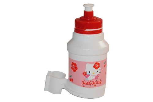 alles-meine.de GmbH Fahrradtrinkflasche Hello Kitty rosa mit Halterung Halter Fahrradflasche Mädchen pink rosa Katze