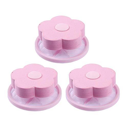 Exceart - 3 Piezas de Lavadora Reutilizable, recogedor de Pelusa, Trampa, Bolsa de Red, Filtro para el Cabello, Bolsa para Quitar el Pelo, Herramienta de Limpieza doméstica (Rosa)
