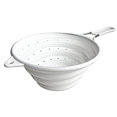 Chef Basics' White Collapsible Strainer with Stainless Steel Handle. This Sturdy Colander Collapses to Just 1 Inch Tall for Easy Storage!