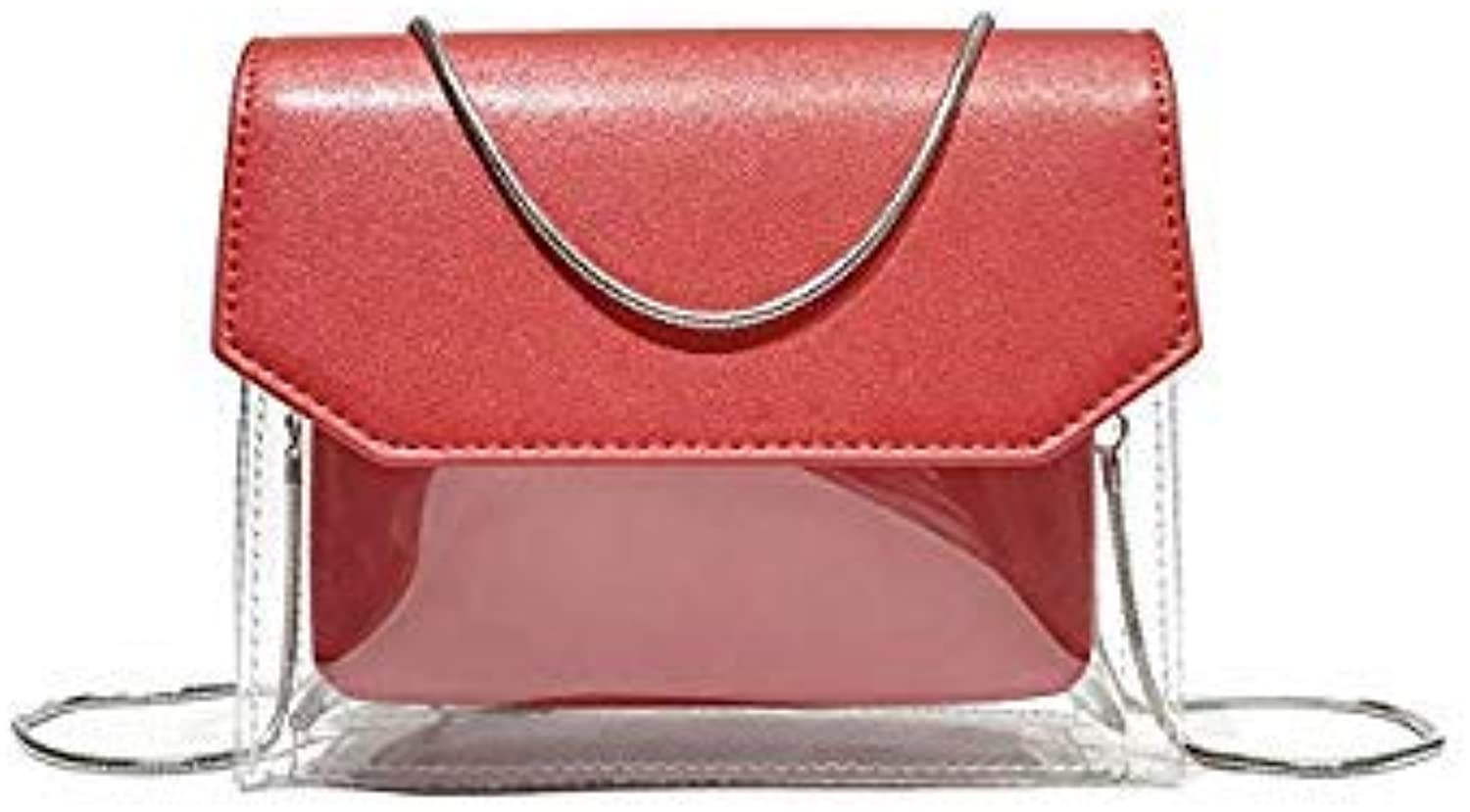 Bloomerang 2018 New Jelly Bag Handbag Fashion Ladies Shoulder Bag Korean Version of The Transparent Diagonal Cross Mother Package color Red
