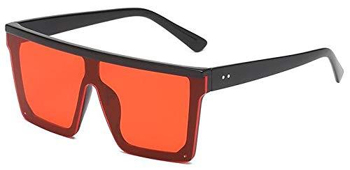 Gafas de sol cuadradas vintage de gran tamaño para hombres y mujeres de moda plana de una sola pieza lente de gafas de sol femeninas, negro, rojo,