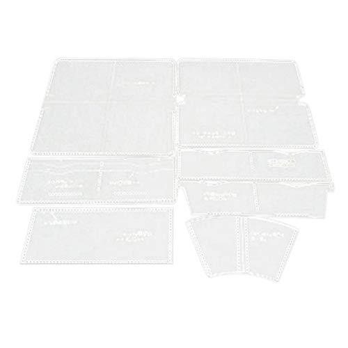 perfk 7 Stück/Set klar Leder Muster Acryl Vorlagen für Leder Geldbörse Geldbeutel Lange Muster Schneiden Schablone