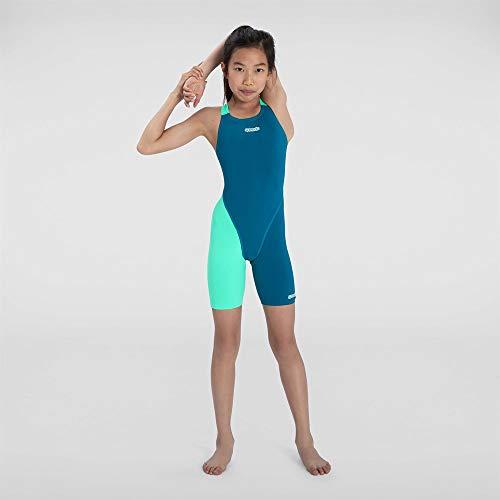 Speedo Fastskin Junior Endurance+ Openback Kneeskin Neoprenanzug für Mädchen XL nordisch türkis/Leuchtend grün/weiß