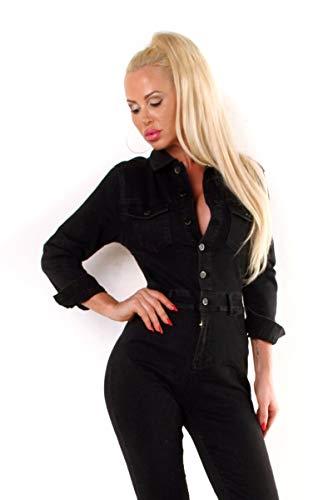 OSAB-Fashion Damen Jeans Overall Hose Jumpsuit Einteiler Jeansoverall Hosenanzug Lang Streetwear