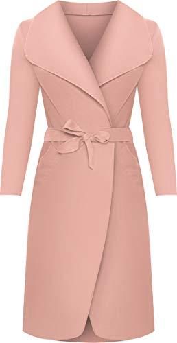 WearAll - Lange Gürtel Taschen öffnen Coat Damen Promi Wasserfall Jacke Cape - Rosa - Eine Größe