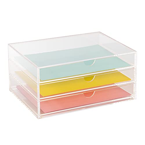 Cajones de papel acrílico y artículos de papelería   Caja de escritorio de almacenamiento   Caja de maquillaje   Pukkr (cajones de papelería)