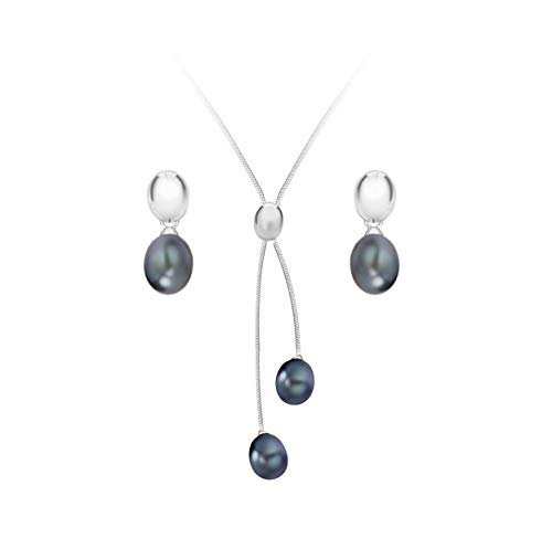 Tuscany Silver Women's Sterling Silver Set of Black Pearl Earrings and Necklace of Length 43 cm/17 Inch