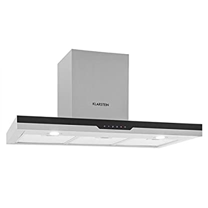 Foto di Klarstein Finessa Cappa Aspirante Da Cucina a Parete in Acciaio (90 cm, 635m³/h, Vetro Frontale, touch screen e indicatori LED)