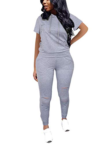 KUBAO Women Casual 2 Piece Sport Outfits Short Sleeve Ripped Hole Pullover Hoodie Sweatpants Set Jumpsuits Short Gray M