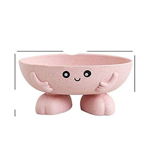 BSDIHRIWEJFHSIE Caja de jabón ecológica 1Pcs Jabonera Antideslizante Suministros de baño Soporte de jabón Forma de Dibujos Animados-Rosa