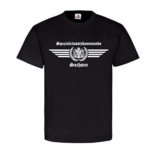 SEK Sachsen altes Logo Spezialeinsatzkommando Auto Spezialeinheit Survivor R Wappen Abzeichen Altdeutsch T-Shirt#23682, Farbe:Schwarz, Größe:Herren L