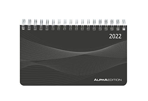 Querkalender Mini PP-Einband schwarz 2022 - Büro-Planer 9x16 cm - Tisch-Kalender - 1 Woche 2 Seiten - Ringbindung - Alpha Edition