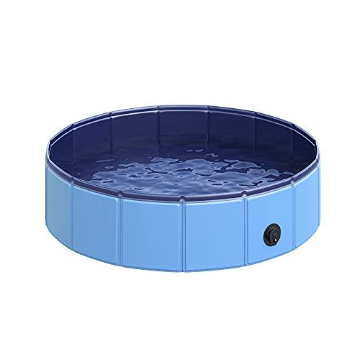 Pawhut Piscine pour Chien Bassin PVC Pliable Anti-Glissant Facile à Nettoyer diamètre 80 Hauteur 20 cm Bleu