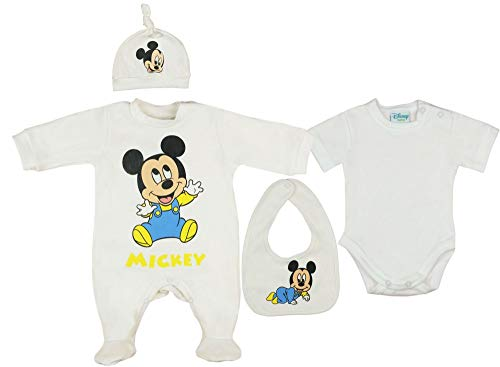 Disney Baby Junge Set 5-teiler mit Mütze ärmelloser-Strampler Body Kratzhandschuhe Jacke in Größe 50 56 62 100% Baumwolle Mickey Mouse Erstausstattung Farbe Modell 3, Größe 56