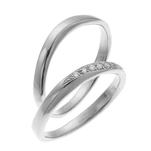 [アクセサリーショップピエナ]ダイヤモンド シルバー925 プラチナ仕上げ ツヤ有り マリッジリング 結婚指輪 沖縄製 ペアリング レディース13号 メンズ19号