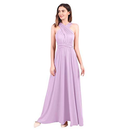 IBTOM CASTLE Ball Gown Dresses Multi-Way Strap Wrap Convertible Maxi Dresses for Womens (12/XL, Lavender)