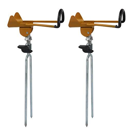 TIMESETL 2 piezas Soporte de caña de pescar de acero inoxidable, soporte de caña de pescar ajustable de 360 ° hecho de acero inoxidable, soporte de caña estable para pescar
