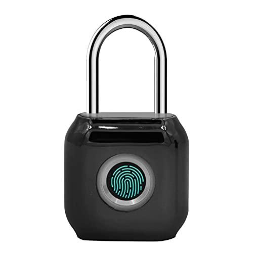 SuDeLLong Smart Padlock Fingerprint Lock Smart Padlock Zinc Alloy Door Lock for Gym Cabinet Drawer (Color : Black, Size : 4x1.8x6cm)
