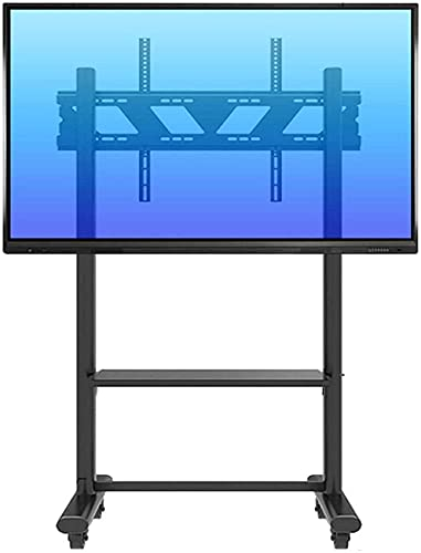 CCAN Soporte para TV Soporte de Pared Soporte para Carrito con Ruedas Soporte para TV con Almacenamiento, Carrito móvil Negro Giratorio para televisores Planos OLED de Plasma/LCD/LED de 55'- 85',